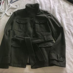 Simon Wool Jacket, belted army green